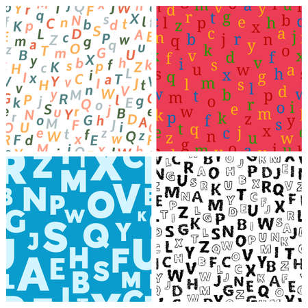 Alphabet seamless background. Set of four endless vector pattern with letters. Vector illustration Illustration