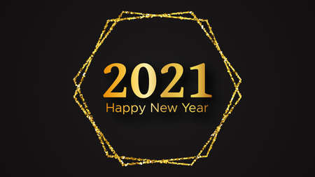 2021 Happy New Year background. Gold inscription in a gold glitter for Christmas holiday greeting card, flyers or posters. Vector illustration Illustration