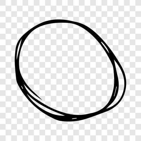 Hand drawn scribble circle.  Black doodle round circular design element on transparent background. Vector illustration Illustration