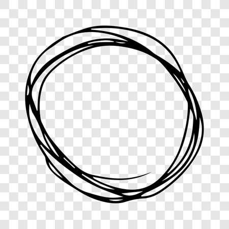 Hand drawn scribble circle.  Black doodle round circular design element on transparent background. Vector illustration Illusztráció