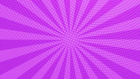 Purple comic book page background in pop art style with empty space. Template with rays, dots and halftone effect texture. Vector illustration