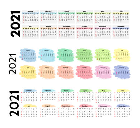 Set of three horizontal calendars for 2021 isolated on a white background. Sunday to Monday, business template.