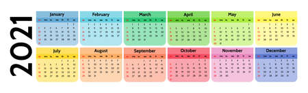 Calendar for 2021 isolated on a white background. Sunday to Monday, business template. Vector illustration Illustration