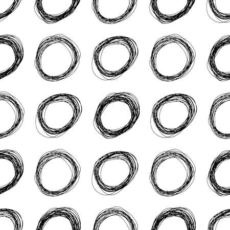 Seamless pattern with black sketch hand drawn pencil scribble ellipse shape on white background. Abstract grunge texture. Vector illustration Illustration