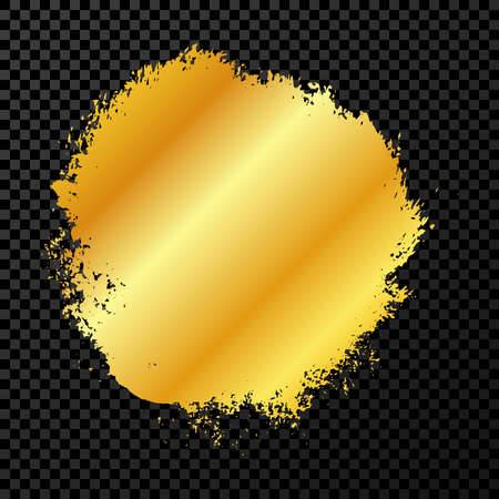 Gold grunge brush stroke. Paint in gold brush ink stain. Ink spot isolated on dark transparent background. Vector illustration
