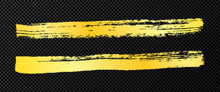 Gold grunge brush strokes. Set of two painted ink stripes. Ink spot isolated on dark transparent background. Vector illustration
