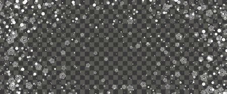 Snowfall and falling snowflakes on transparent background. White snowflakes and Christmas snow. Vector illustration