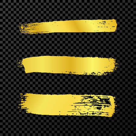 Gold grunge brush strokes. Set of three painted ink stripes. Ink spot isolated on dark transparent background. Vector illustration