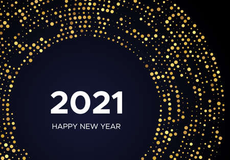 2021 Happy New Year of gold glitter pattern in circle form. Abstract gold glowing halftone dotted background for Christmas holiday greeting card on dark background. Vector illustration Vektoros illusztráció