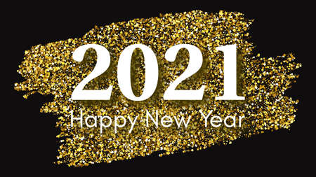 2021 Happy New Year gold background. Abstract backdrop with a white inscription  on dark for Christmas holiday greeting card, flyers or posters. Vector illustration Illustration