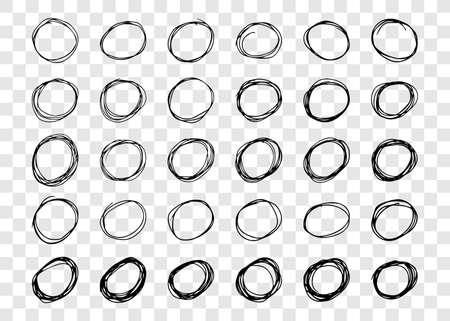 Hand drawn scribble circles.  Set of thirty black doodle round circular design elements on transparent background. Vector illustration Illustration