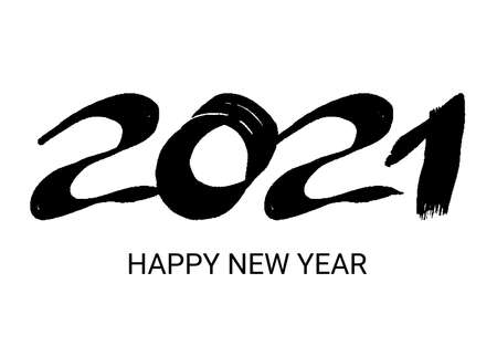 2021 hand drawn numbers. Black grunge calligraphy lettering isolated on white background. Happy New Year and happy holidays. Vector illustration.