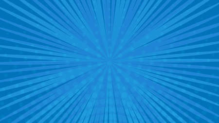 Blue comic book page background in pop art style with empty space. Template with rays, dots and halftone effect texture. Vector illustration Illustration