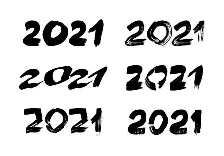 2021 hand drawn numbers. Set of six grunge calligraphy lettering in black isolated on white background. Happy New Year and happy holidays. Vector illustration.