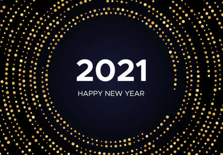 2021 Happy New Year of gold glitter pattern in circle form. Abstract gold glowing halftone dotted background for Christmas holiday greeting card on dark background. Vector illustration