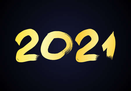 2021 hand drawn numbers. Gold grunge calligraphy lettering isolated on dark background. Happy New Year and happy holidays. Vector illustration.