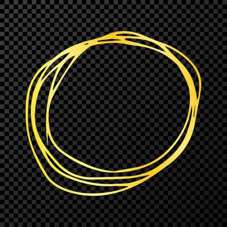 Hand drawn scribble circle.  Gold doodle round circular design element on dark transparent background. Vector illustration