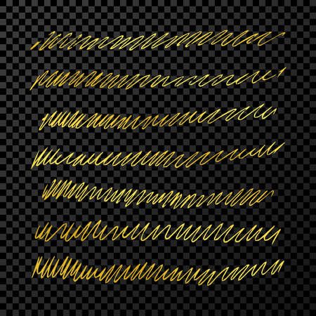 Set of doodle style various wavy lines and strokes. Gold hand drawn design elements on dark transparent background. Vector illustration Illustration