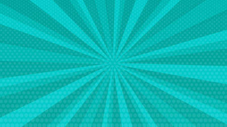 Turquoise comic book page background in pop art style with empty space. Template with rays, dots and halftone effect texture. Vector illustration Illustration