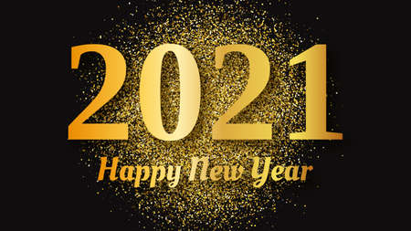 2021 Happy New Year gold background. Abstract backdrop with a gold inscription  on dark for Christmas holiday greeting card, flyers or posters. Vector illustration