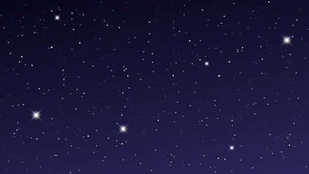 Night sky with many stars. Abstract nature background with stardust in deep universe. Vector illustration.