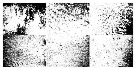 Grunge grainy dirty texture. Set of six abstract urban distress overlay backgrounds. Vector illustration