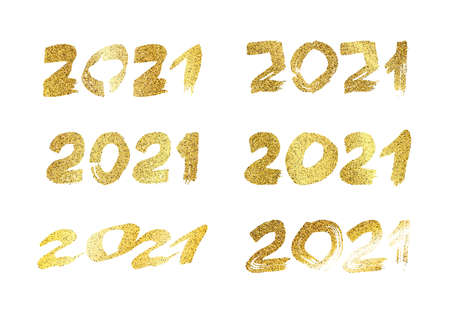 2021 hand drawn numbers. Set of six gold glitter grunge calligraphy lettering isolated on white background. Happy New Year and happy holidays. Vector illustration.