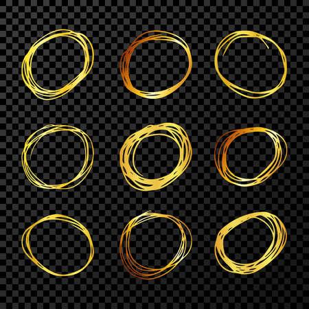Hand drawn scribble circles. Set of nine gold doodle round circular design elements on dark transparent background. Vector illustration