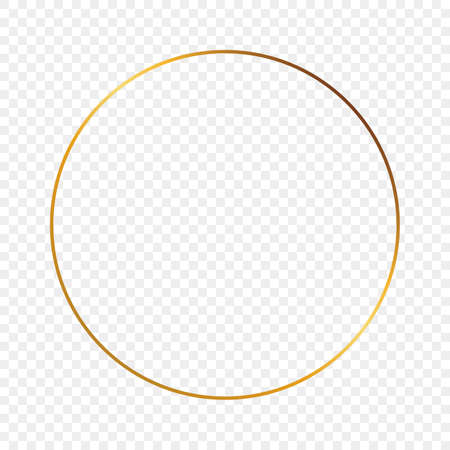 Gold glowing circle frame isolated on transparent background. Shiny frame with glowing effects. Vector illustration.