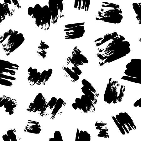 Seamless pattern with dark hand drawn scribble smear on white background. Abstract grunge texture. Vector illustration