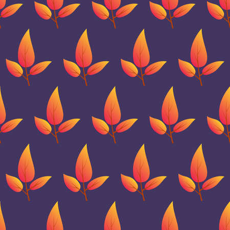 Autumn seamless background with colorful leaves. Design for fall season posters, wrapping papers and holidays decorations. Vector illustration 矢量图像
