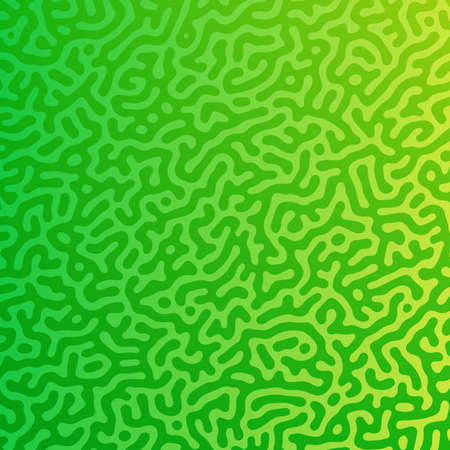 Green Turing reaction gradient background. Abstract diffusion pattern with chaotic shapes. Vector illustration.