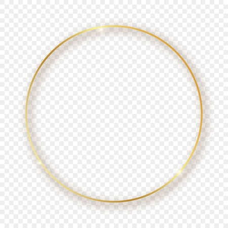 Gold glowing circle frame with shadow isolated on transparent background. Shiny frame with glowing effects. Vector illustration.