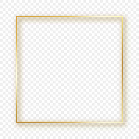 Gold glowing square frame with shadow isolated on transparent background. Shiny frame with glowing effects. Vector illustration.