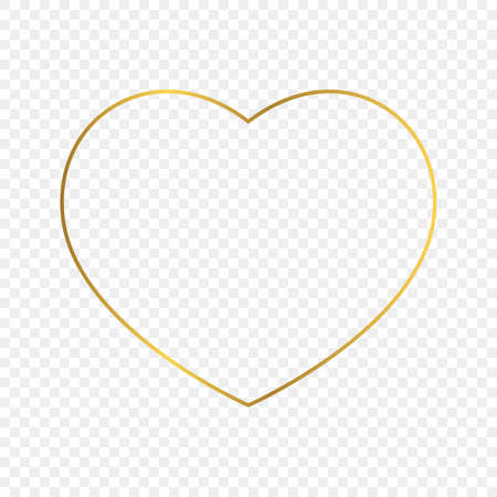 Gold glowing heart shape frame isolated on transparent background. Shiny frame with glowing effects. Vector illustration.