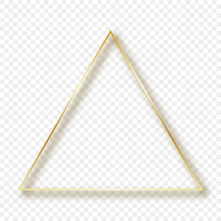 Gold glowing triangle frame with shadow isolated on transparent background. Shiny frame with glowing effects. Vector illustration.