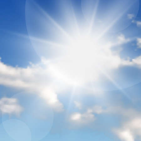 Natural background with clouds and sun on blue sky. Realistic cloud on blue backdrop. Vector illustration Vettoriali