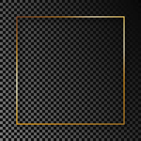 Gold glowing square frame with shadow isolated on dark transparent background. Shiny frame with glowing effects. Vector illustration.