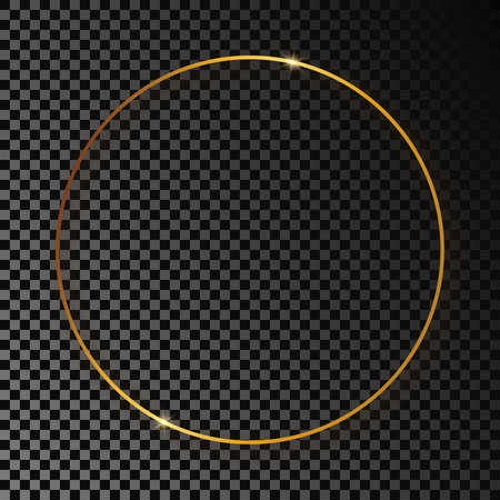 Gold glowing circle frame with shadow isolated on dark transparent background. Shiny frame with glowing effects. Vector illustration. Vettoriali