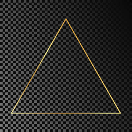 Gold glowing triangle frame isolated on dark transparent background. Shiny frame with glowing effects. Vector illustration.