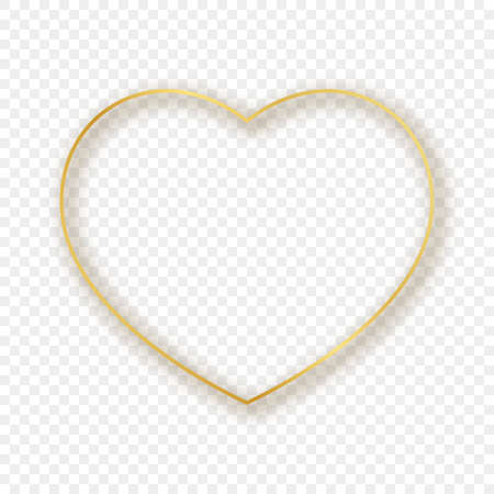 Gold glowing heart shape frame with shadow isolated on transparent background. Shiny frame with glowing effects. Vector illustration.