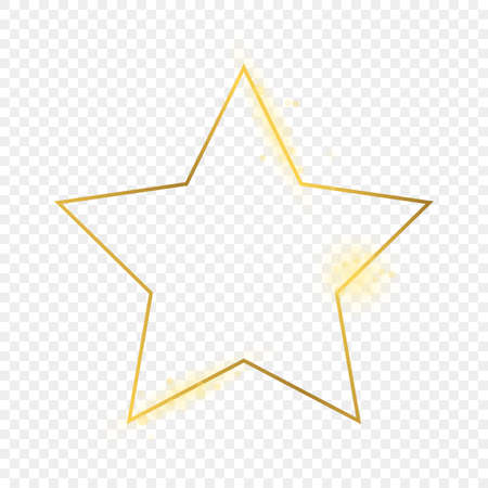 Gold glowing star shape frame isolated on transparent background. Shiny frame with glowing effects. Vector illustration.