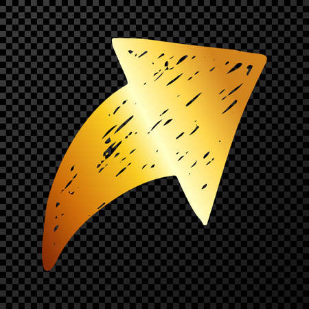 Gold hand drawn arrow. Sketch of gold doodle arrow isolated on dark transparent background. Vector illustration.