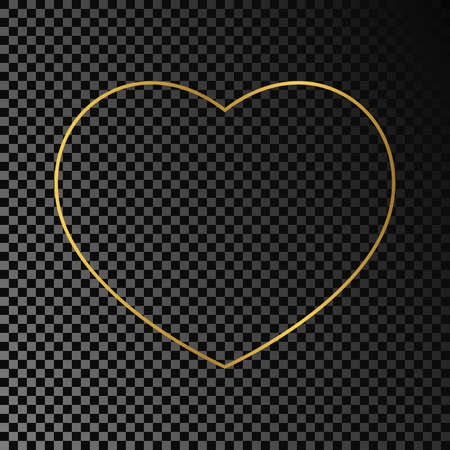 Gold glowing heart shape frame isolated on dark transparent background. Shiny frame with glowing effects. Vector illustration. Vettoriali