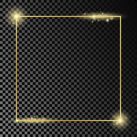 Gold glowing square frame isolated on dark transparent background. Shiny frame with glowing effects. Vector illustration.