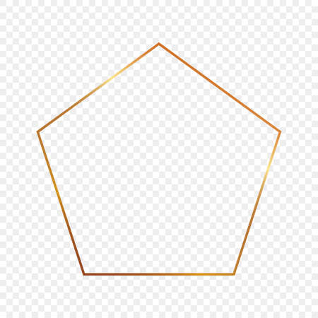 Gold glowing pentagon shape frame isolated on transparent background. Shiny frame with glowing effects. Vector illustration.