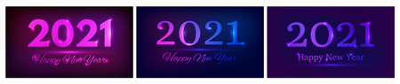 2021 Happy New Year neon background. Set of three abstract neon backdrops with lights for Christmas holiday greeting card, flyers or posters. Vector illustration