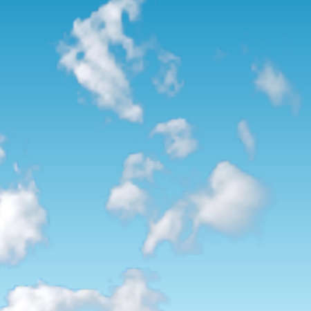 Natural background with cloud on blue sky. Realistic cloud on blue backdrop. Vector illustration