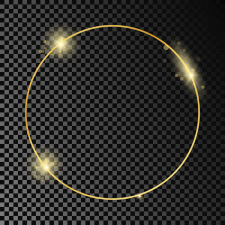 Gold glowing circle frame isolated on dark transparent background. Shiny frame with glowing effects. Vector illustration.