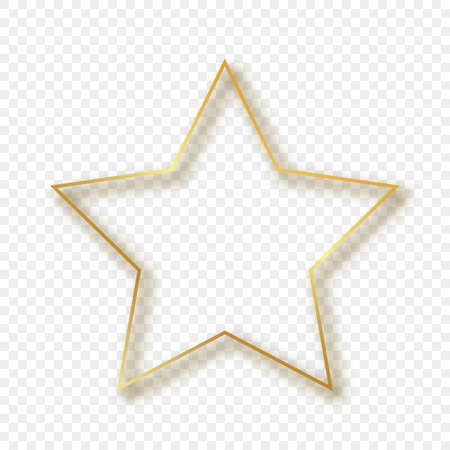 Gold glowing star shape frame with shadow isolated on transparent background. Shiny frame with glowing effects. Vector illustration.